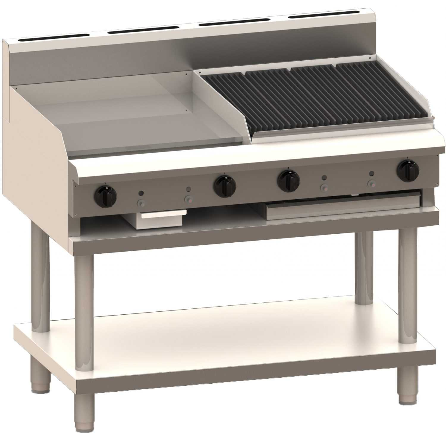 Luus Professional CS-6P6C 600mm Griddle 600mm Chargrill Combination with legs & shelf