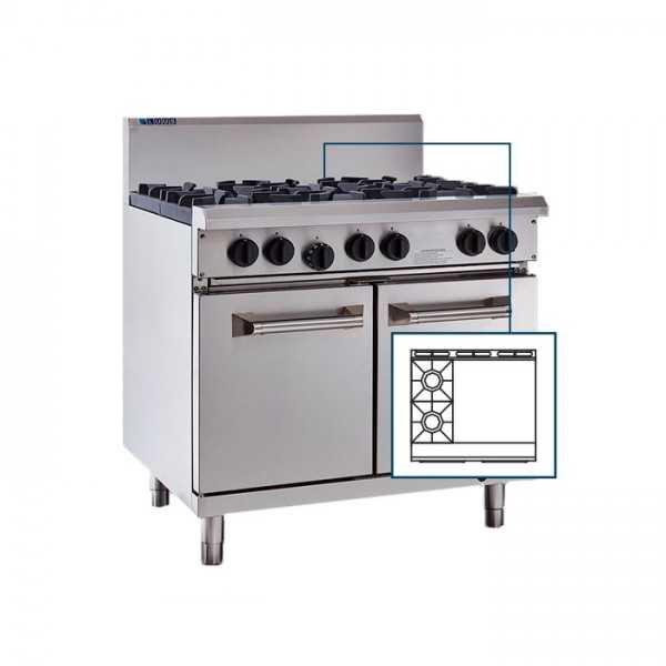 Luus   Professional RS-2B6P 2 Burner 600mm Griddle & Oven with flame failure