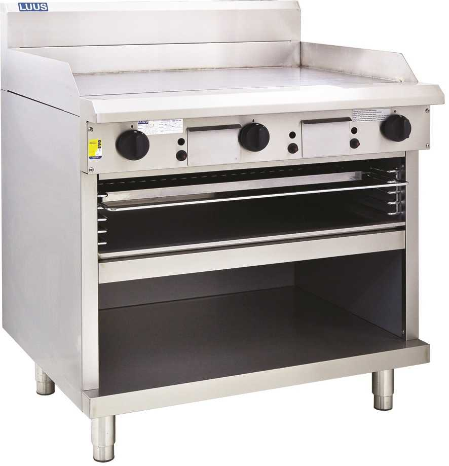 Luus Professional GTS-9 900mm Griddle Toaster with cabinet base and toasting racks