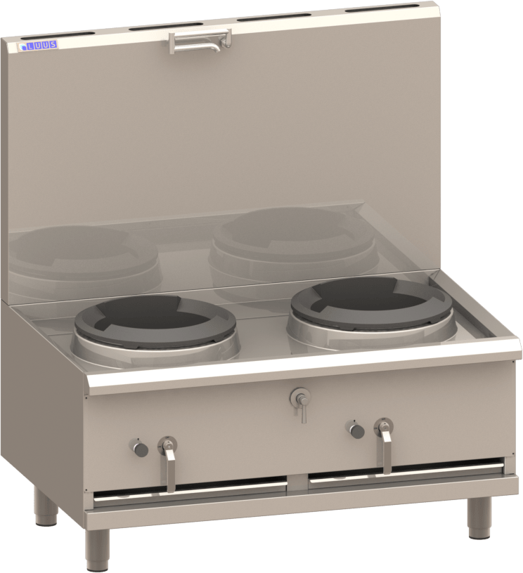 Luus Asian WX-2SP 2 Duckbill Burner 330mm Compact Stockpot with air cooling, 1/4 turn water tap & trivet