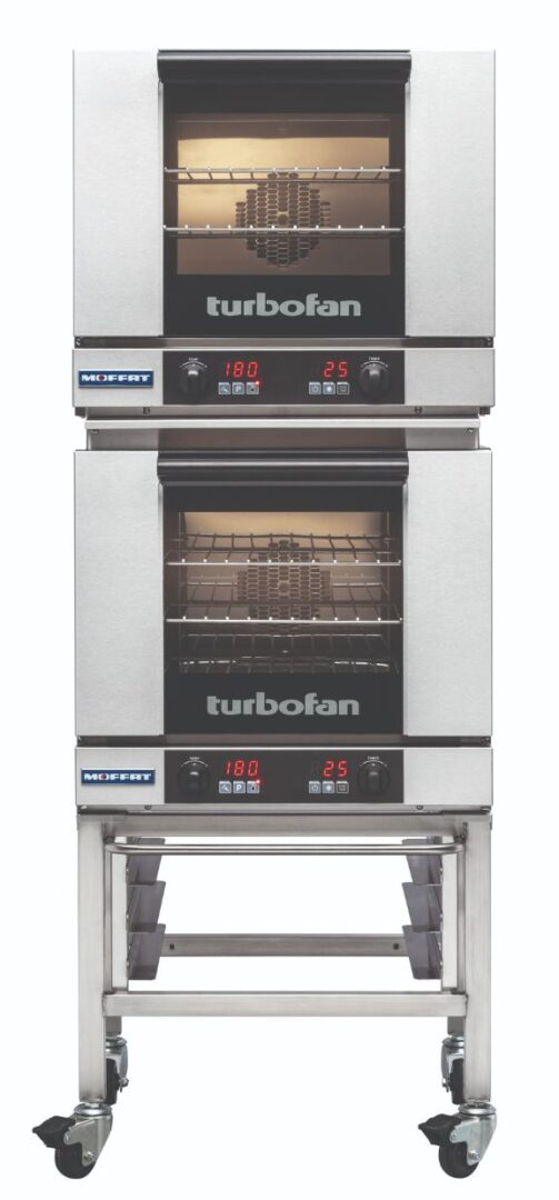 Turbofan E23D3/2 - Half Size Tray Digital Electric Convection Ovens Double Stacked on a Stainless Steel Base Stand