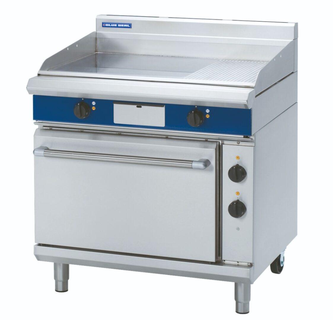 Blue Seal Evolution Series EP506 - 900mm Electric Griddle Static Oven Range