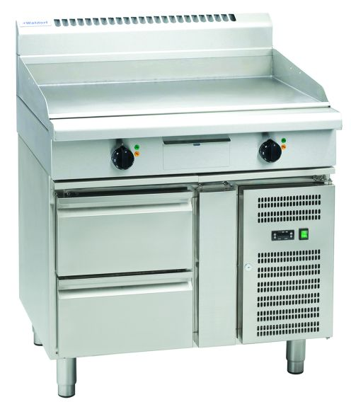 Waldorf 800 Series GPL8900E-RB – 900mm Electric Griddle Low Back Version – Refrigerated Base