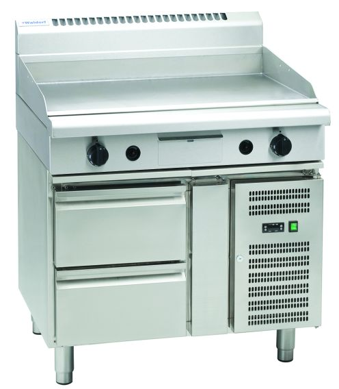 Waldorf 800 Series GP8900G-RB – 900mm Gas Griddle – Refrigerated Base