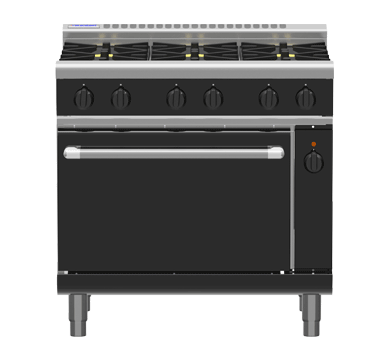 Waldorf Bold RNLB8619GEC – 900mm Gas Range Electric Convection Oven Low Back Version