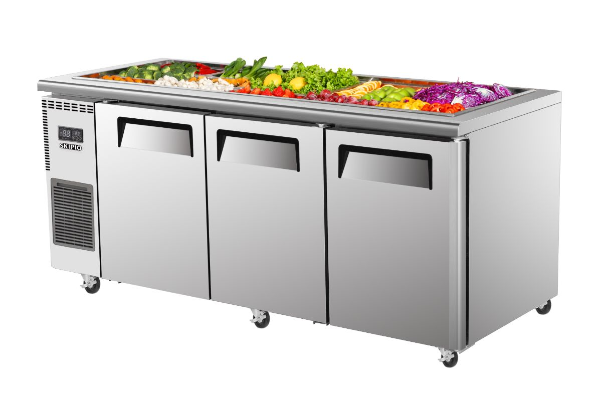Skipio SSR18-3 Salad Side Prep Table(Buffet) Refrigerator