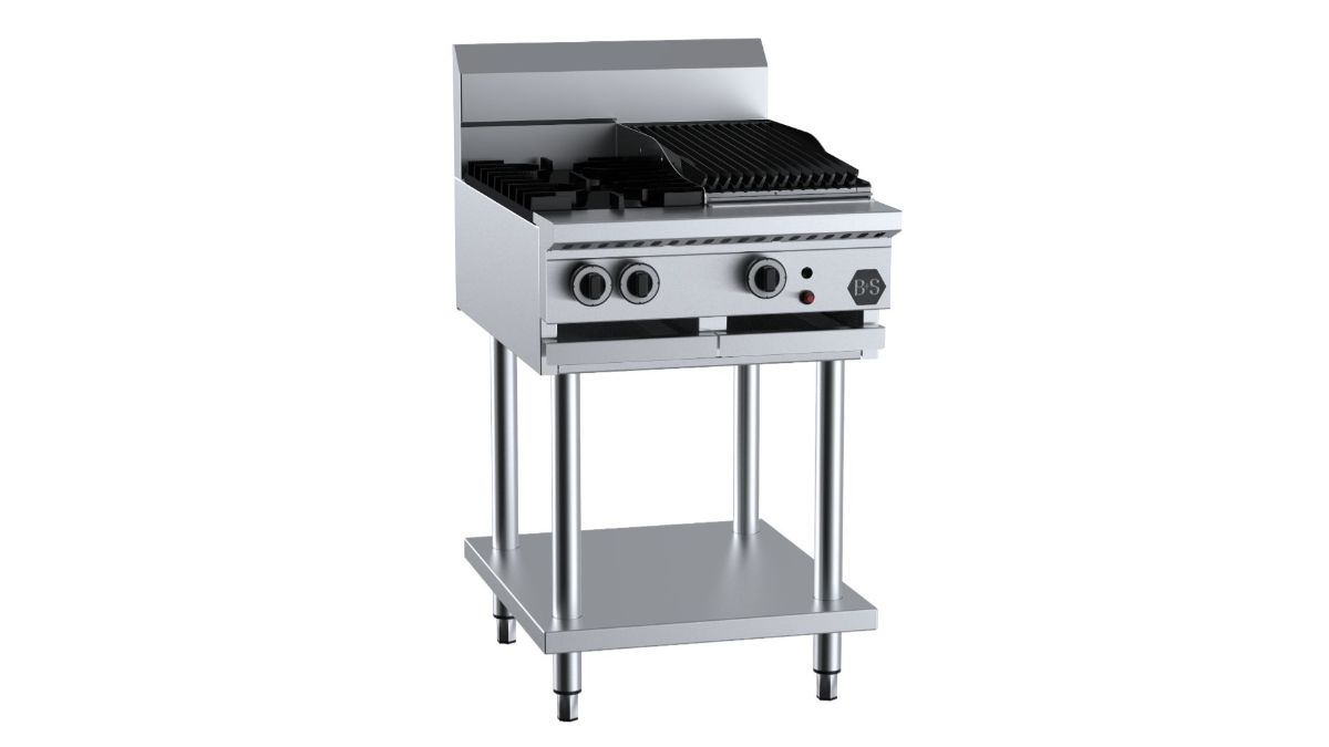 B+S BT-SB2-CBR3  Combination Two Open Burners & 300mm Char Broiler