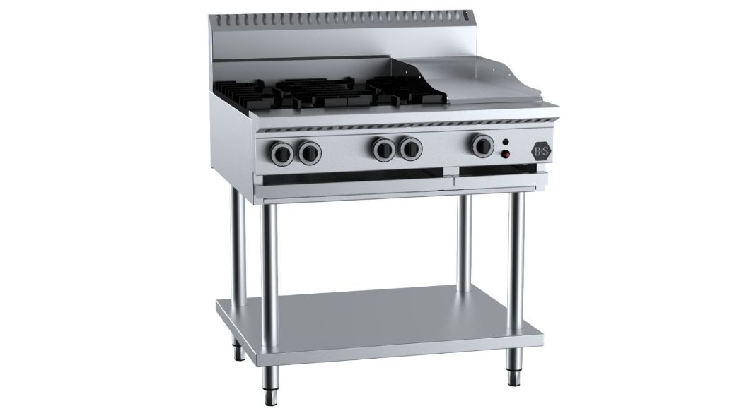 B+S BT-SB4-GRP3 Combination Four Open Burners & 300mm Grill Plate