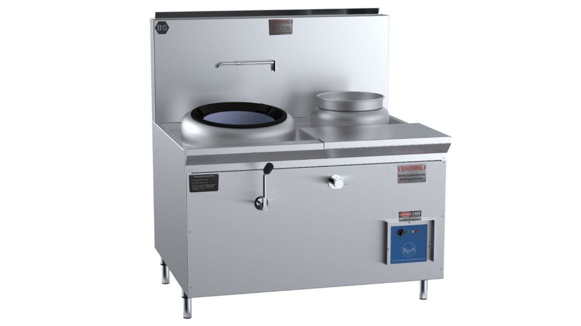 B+S CCF-HP1+1R  Single Hole HiPac Wok with Right Rear Pot & Side Prep Table