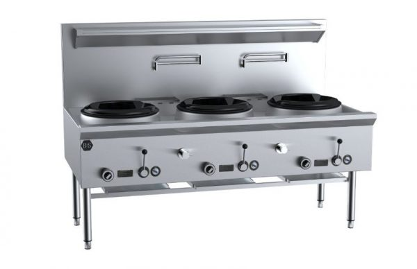 B+S UFWWD-3 Three Hole Deluxe Waterless Wok Table