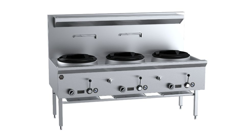 B+S K+  UFWWK-3 Three Hole Waterless Wok Table