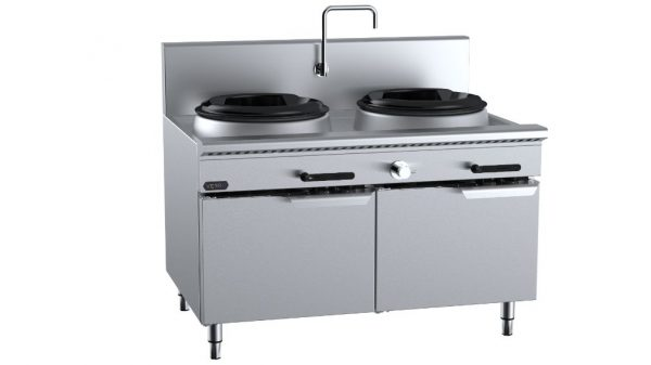 B+S Verro VUFWW-2 Two Hole Waterless Wok Table with Low Splashback