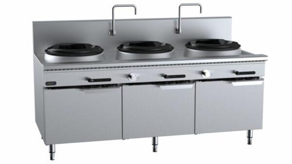B+S Verro VUFWW-3 Three Hole Waterless Wok Table with Low Splashback