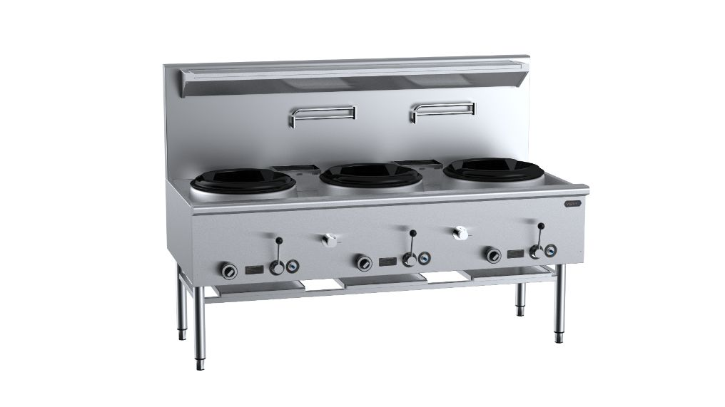 B+S Verro VUFWW-3 HS Three Hole Waterless Wok Table with High Splashback