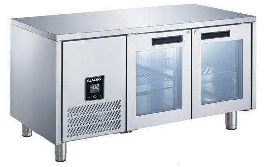 Glacian BCG61420 Slimline 660mm Deep 2 Door Glass Underbench Fridge