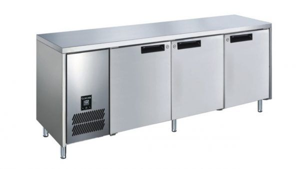 Glacian BCS61885 Slimline 660mm Deep 3 Door S/S Underbench Fridge