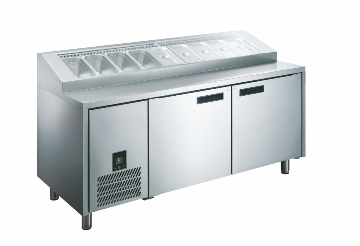 Glacian HPB1815 760mm Deep 2 Door S/S Pizza Prep Fridge