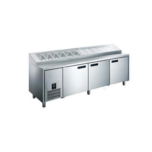Glacian HPB2476 760mm Deep 3 Door S/S Pizza Prep Fridge