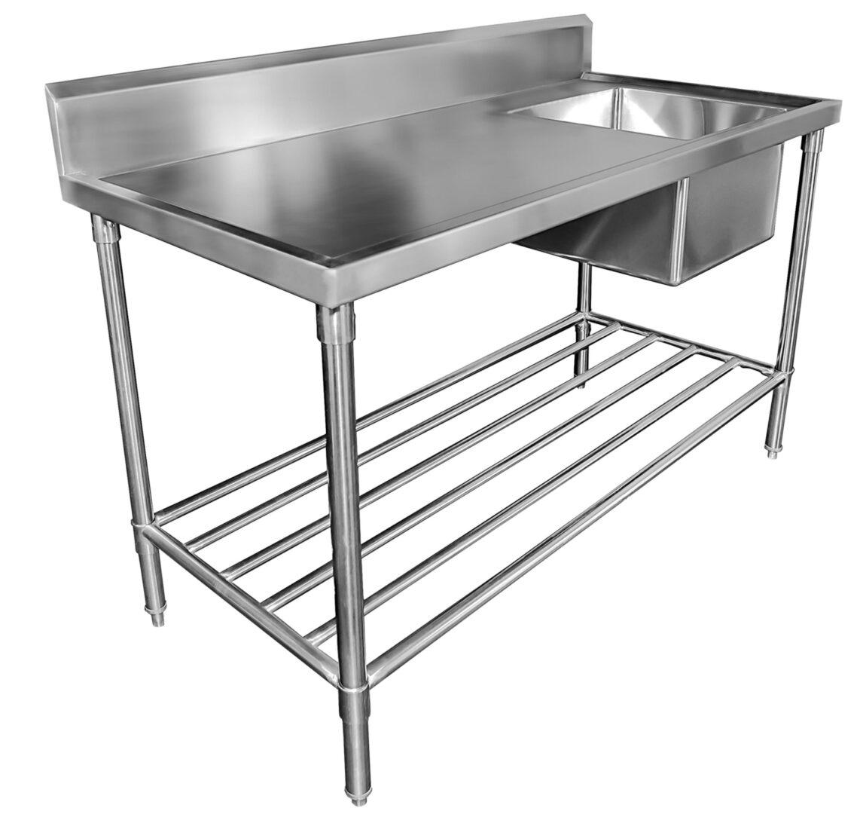 Simco SS1624L Sink Bench with Splashback – W2400 x D600 x H900