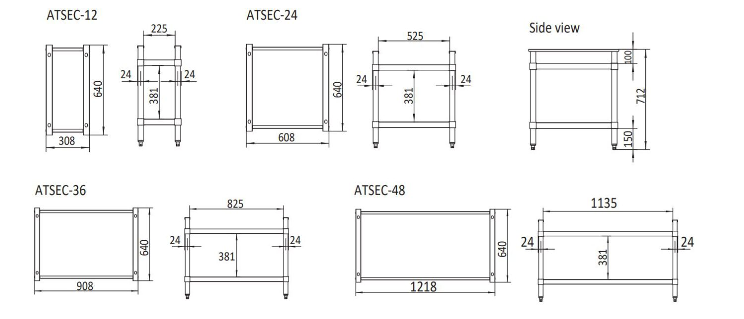 Simco ATSEC-12 Stainless Steel Stand for Gas Series 308x640