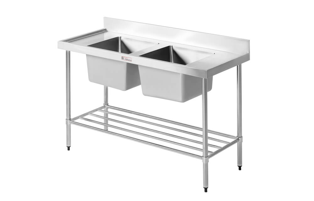 Simply Stainless SS06.1200.LB Double Sink with Splashback