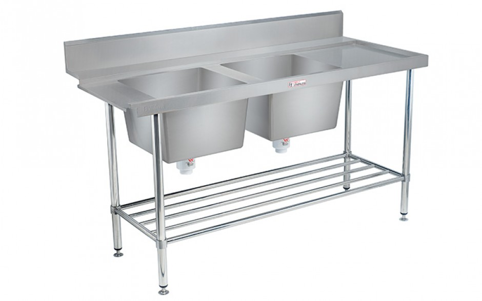 Simply Stainless SS09.1650.DBL Double Sink Dishwasher Inlet Bench