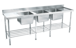 Simply Stainless SS24.7.2400.TB Triple Bowl Sink Bench