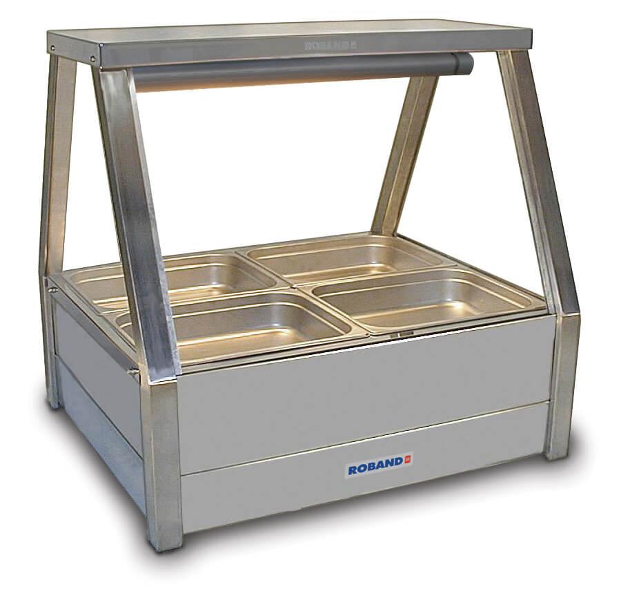 Roband Straight Glass Hot Food Display Bar, 4 pans double row