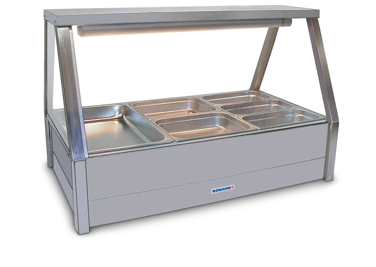 Roband Straight Glass Hot Food Display Bar, 6 pans double row with roller doors