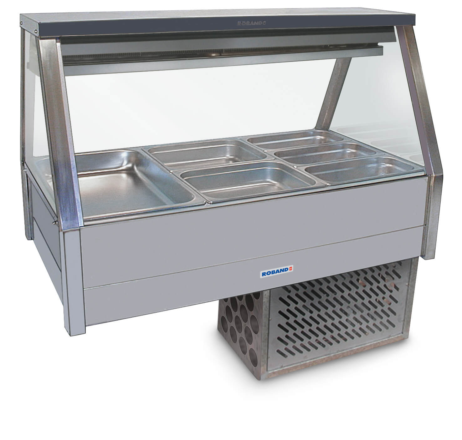 Roband Straight Glass Refrigerated Display Bar, 6 pans