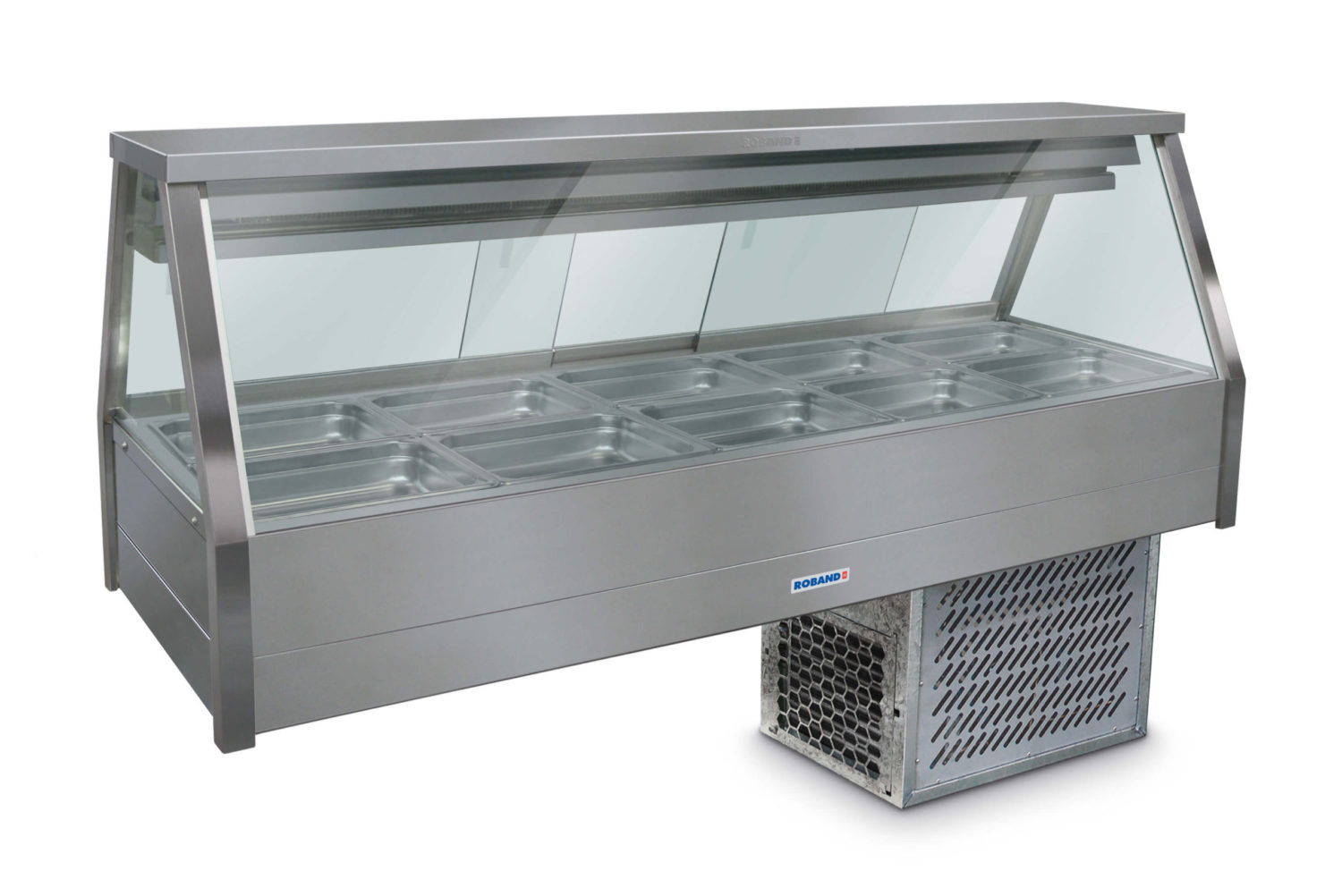 Roband Straight Glass Refrigerated Display Bar – Piped and Foamed only (no motor), 10 pans