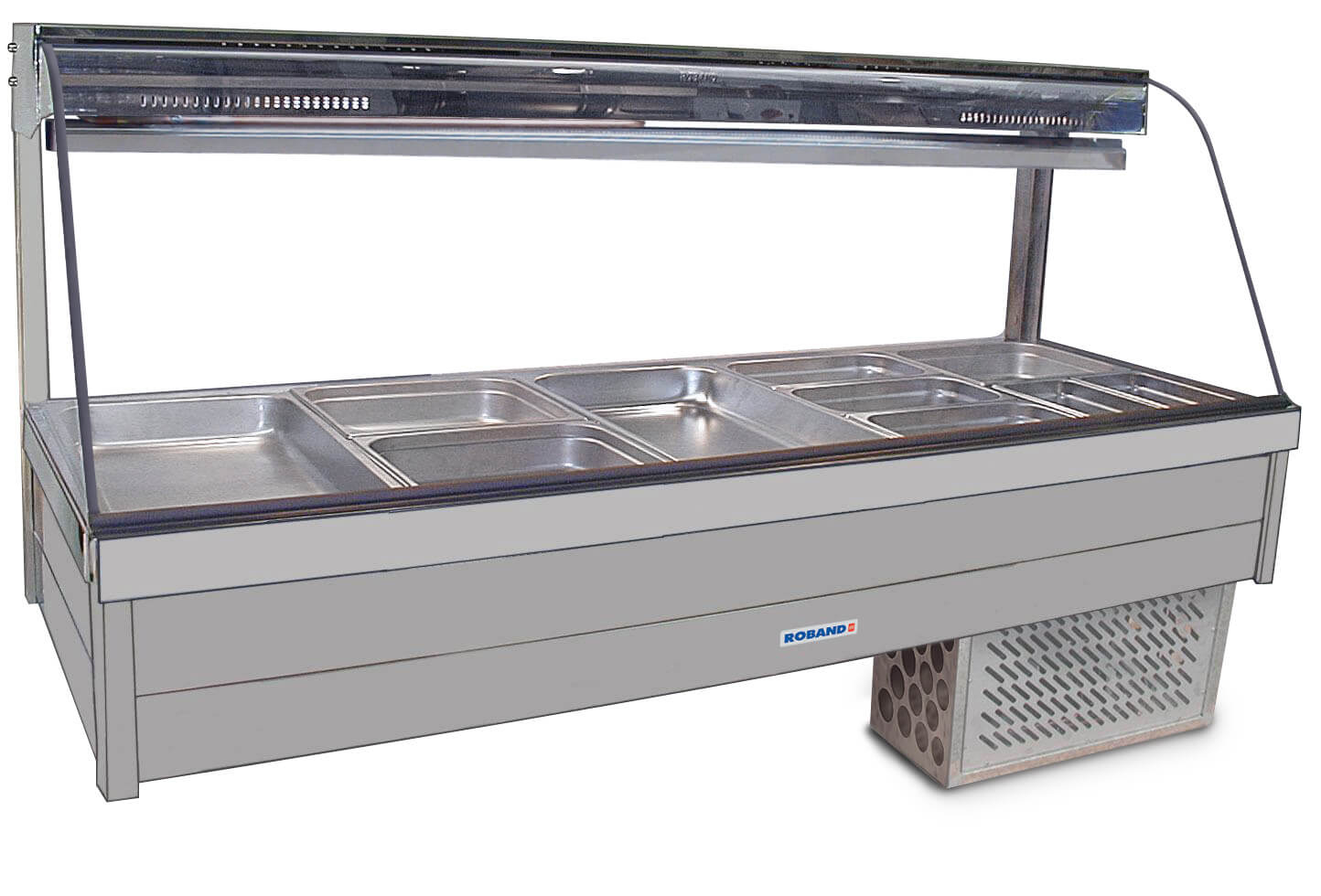 Roband Curved Glass Refrigerated Display Bar - Piped and Foamed only (no motor), 10 pans