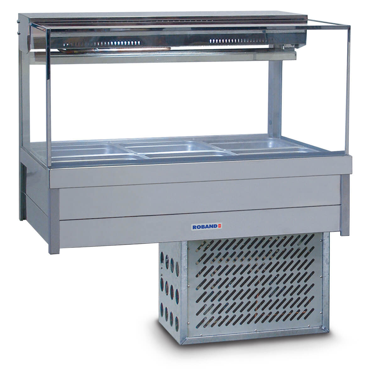 Roband Square Glass Refrigerated Display Bar – Piped and Foamed only (no motor), 6 pans