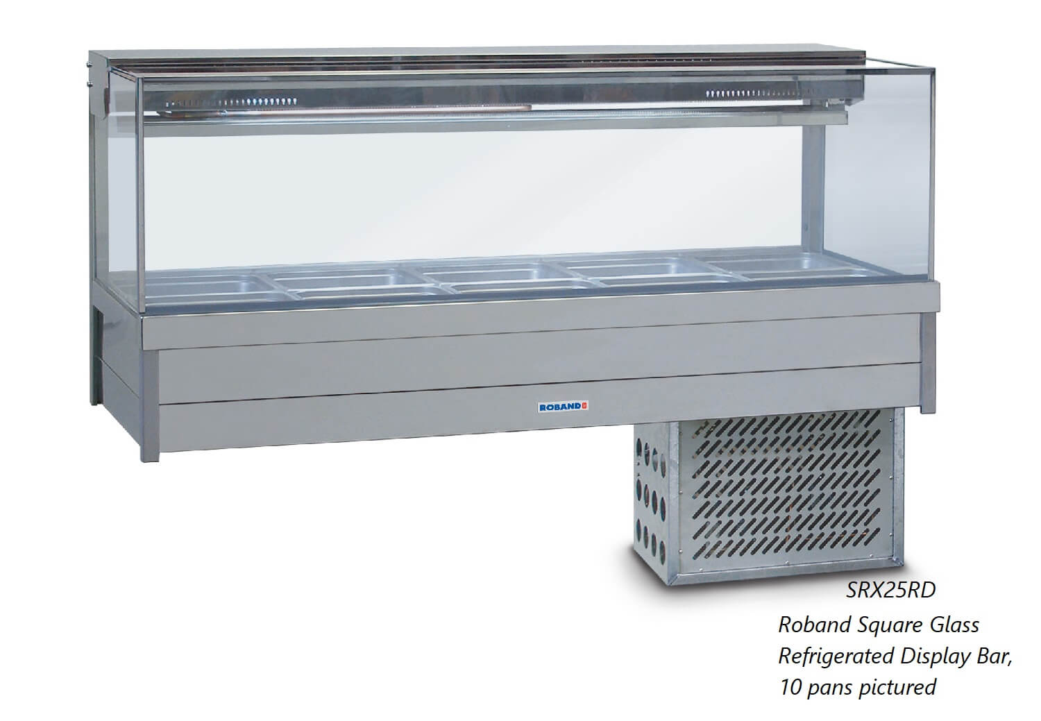 Roband Square Glass Refrigerated Display Bar – Piped and Foamed only (no motor), 12 pans