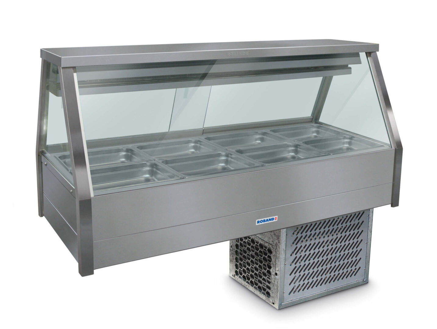 Roband Straight Glass Refrigerated Display Bar – Piped and Foamed only (no motor), 8 pans