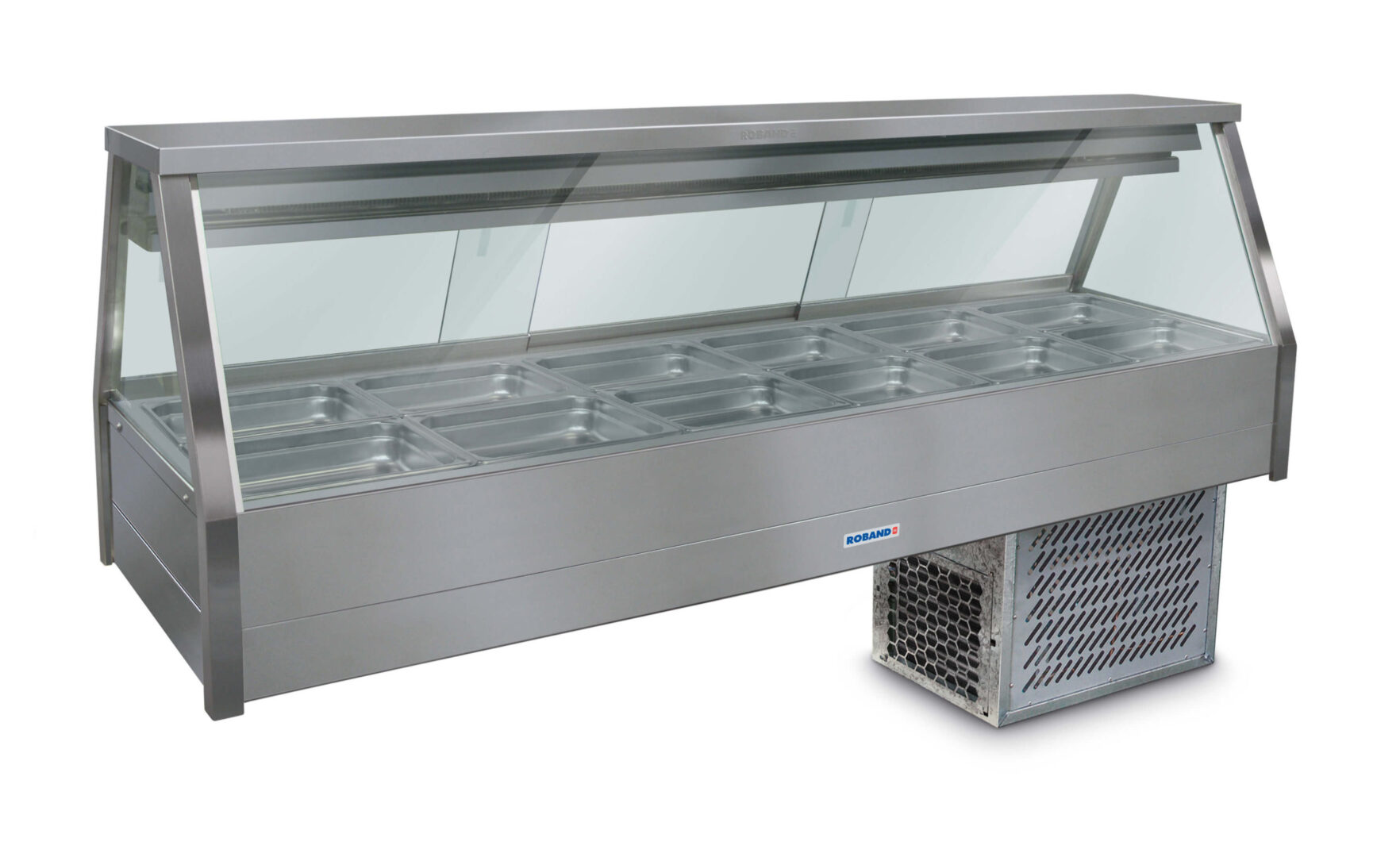 Roband Straight Glass Refrigerated Display Bar – Piped and Foamed only (no motor), 12 pans