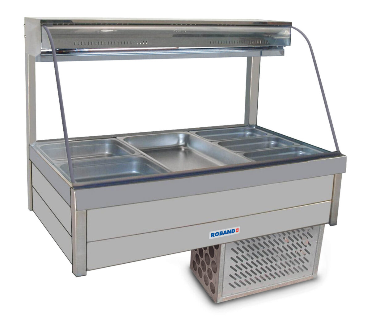 Roband Curved Glass Refrigerated Display Bar – Piped and Foamed only (no motor), 6 pans