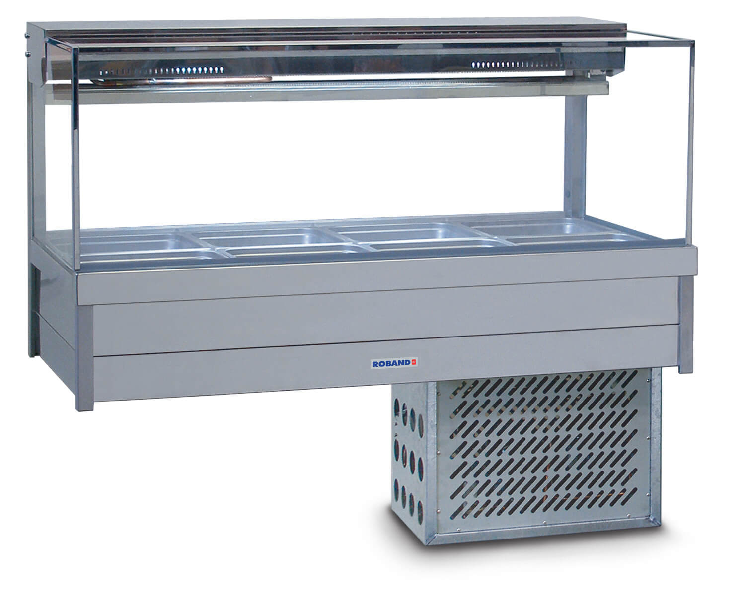 Roband Square Glass Refrigerated Display Bar – Piped and Foamed only (no motor), 8 pans