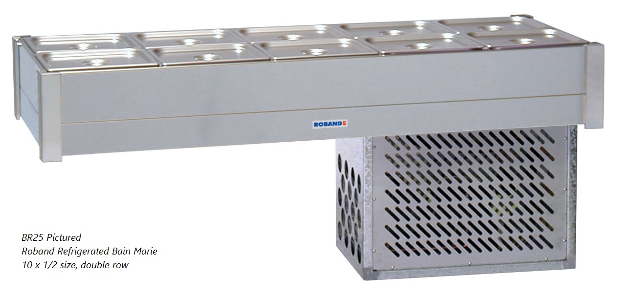 Roband Refrigerated Bain Marie 8 x 1/2 size, pans not included, double row